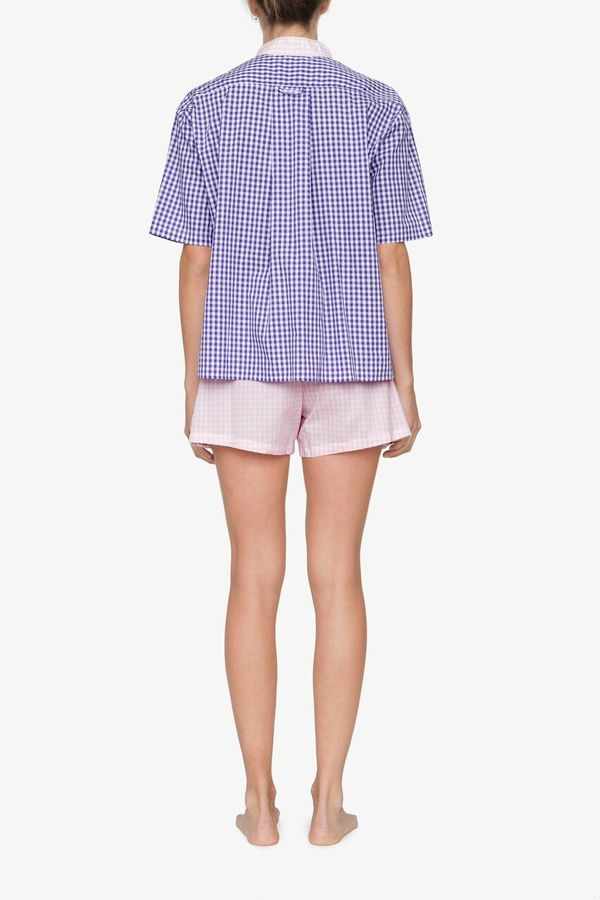 The Sleep Shirt Set – Short Sleeve Cropped Sleep Shirt and Pleat Short Grape Gingham