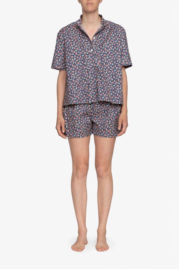 The Sleep Shirt Set – Short Sleeve Cropped Sleep Shirt and Pleat Short Navy Floral