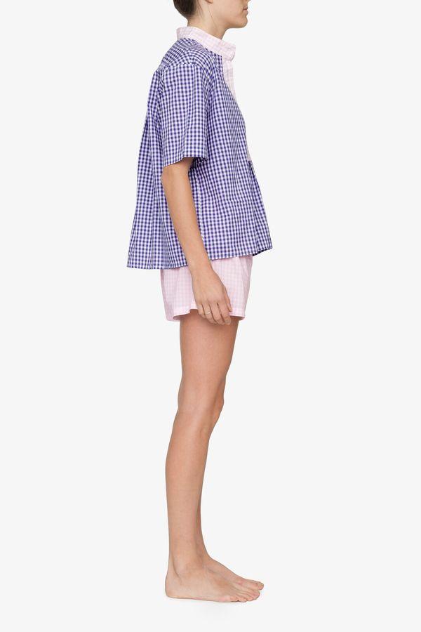 The Sleep Shirt Short Sleeve Cropped Sleep Shirt Grape Gingham