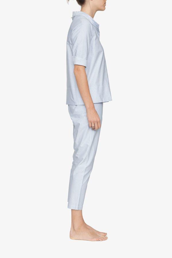 The Sleep Shirt Three Quarter Sleeve Top Blue Oxford Stripe