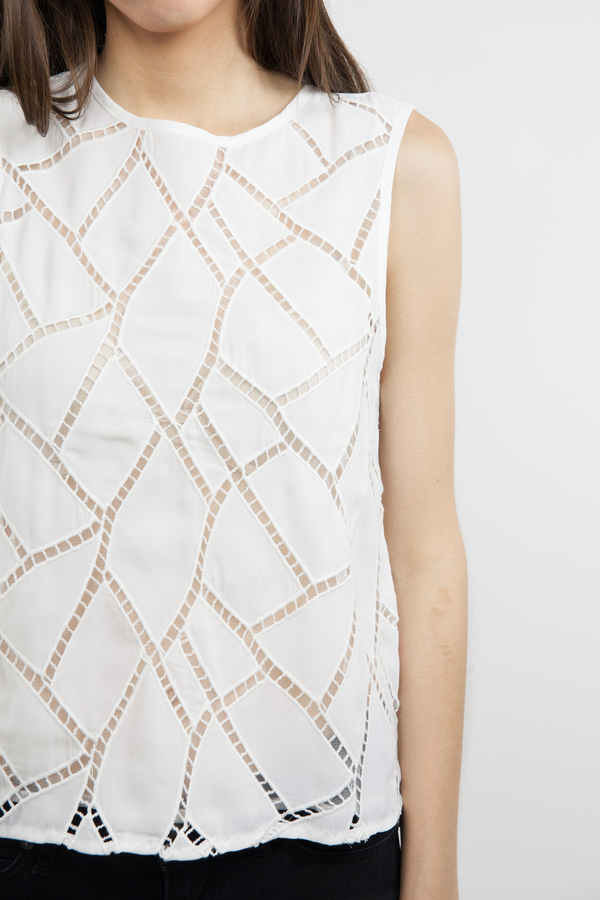 After Market Sheer Sleeveless Top - White