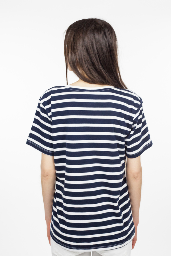 Kowtow Building Block Scoop Tee -  Navy & White