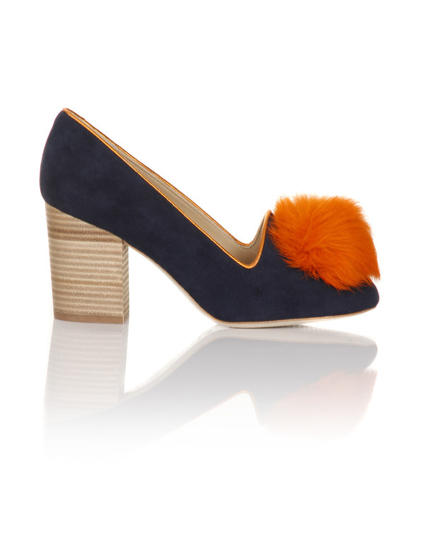 Minna Parikka - Alice Navy & Orange Suede Pump
