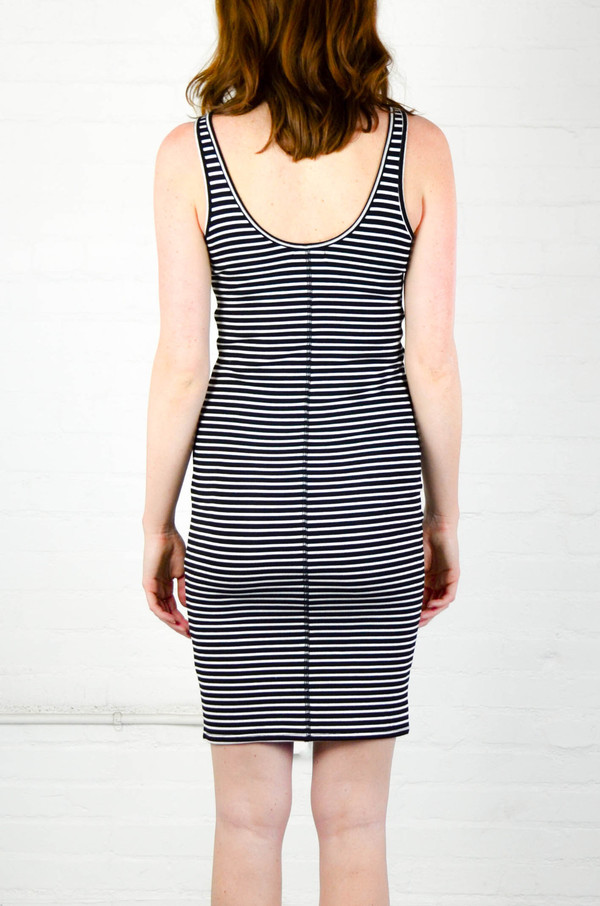 ATM Anthony Thomas Melillo ATM Striped Wrestler Tank Rib Dress