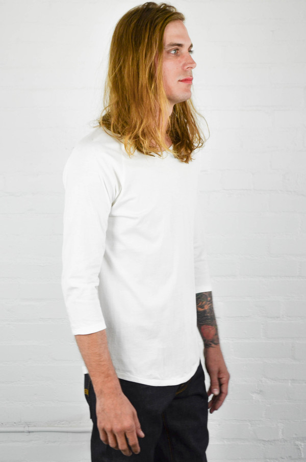 Men's Nudie Quarter Sleeve Organic Backbone Tee Off White