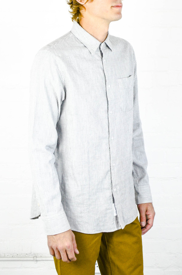 Men's Rag and Bone Grey Stripe Beach Shirt