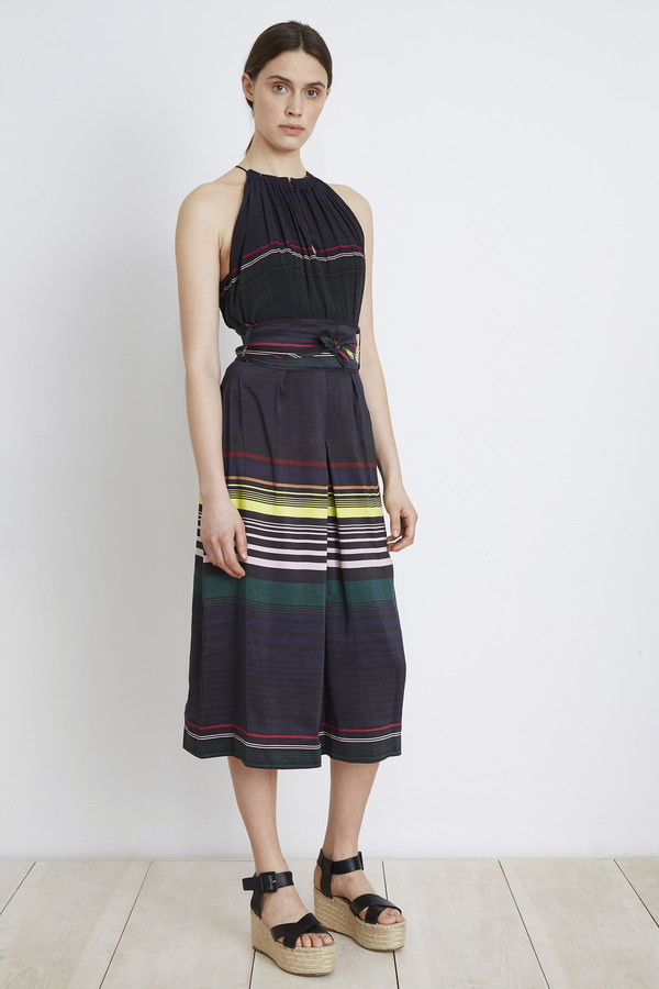 Apiece Apart Night Lights Stripe Baja Tie Waist Culotte