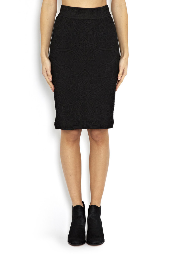Rodebjer - Black Mandi Embossed Pencil Skirt