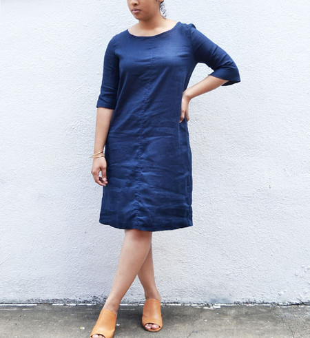 Fog Linen Blue Nuit Mayu Dress
