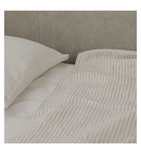 Fog Linen Work Fog Linen Natural Stripe Chambray Linen Blanket