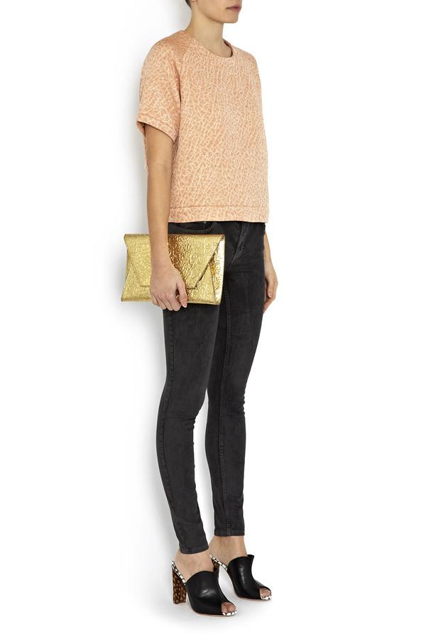 Flynn - Fergie Gold Leather Clutch
