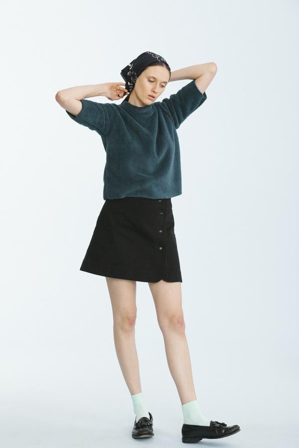 Carleen Snap Skirt-Black