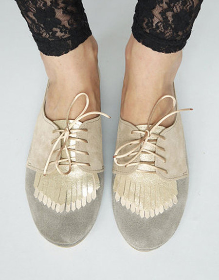 Ele - Grey Suede Fringed Oxford Flat Pump