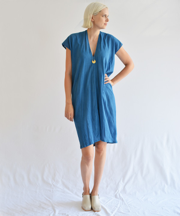 Miranda Bennett Indigo Gauze Everyday Dress