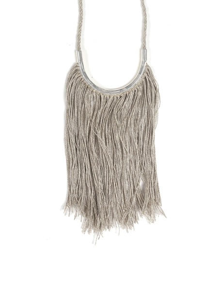 Erin ConsidineLunate Fringe Necklace Silver
