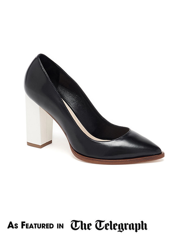 Loeffler Randall - Remy Leather Block Heel Pump in Black and Cream