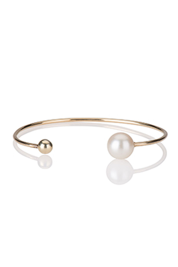 Letters By Zoe - Single Pearl Gold Cuff Bangle Bracelet