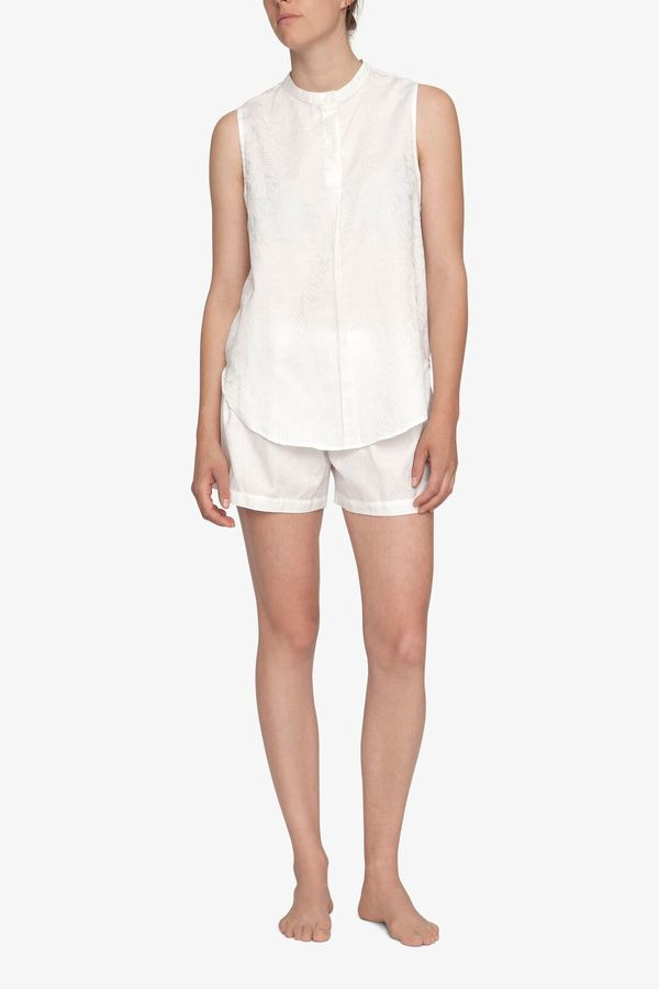 The Sleep Shirt Sleeveless Shirt Top White Palm Damask