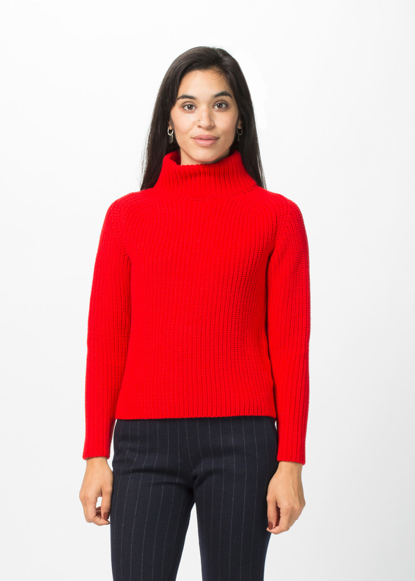 Odeeh Mock Turtleneck Cable Knit Sweater