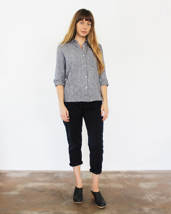 Esby West Lake Button Down- Black Stripe