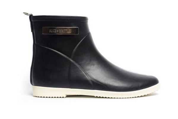 Black + White Ankle Rain Boot