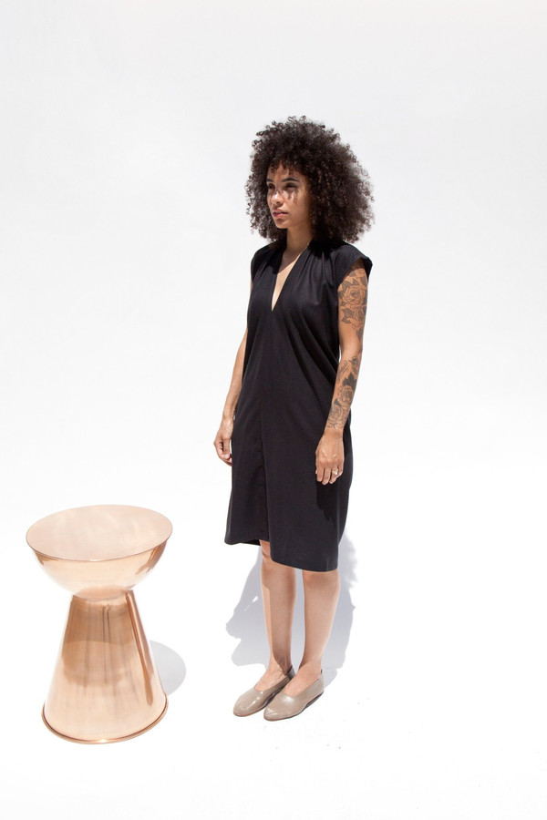 Everyday Dress, Silk Noil in Black