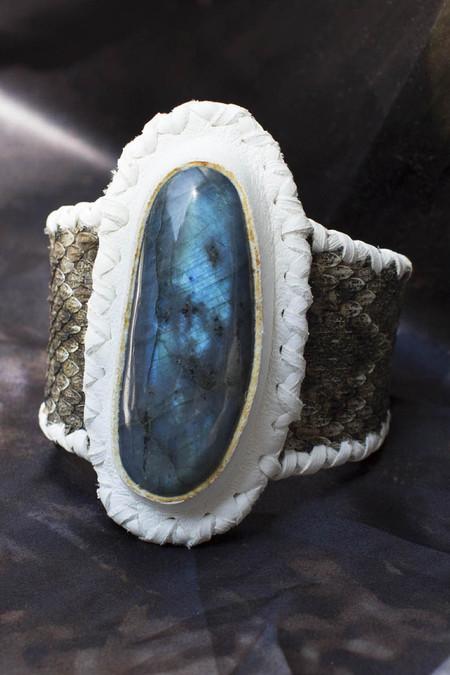 Phoenix Two Moons Cuff: Labradorite Snakeskin