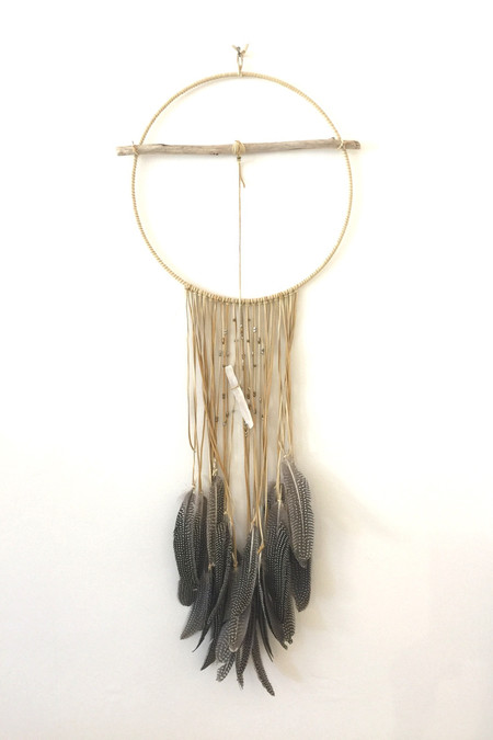 Marion McKee Round Dreamcatcher with Gray Feathers
