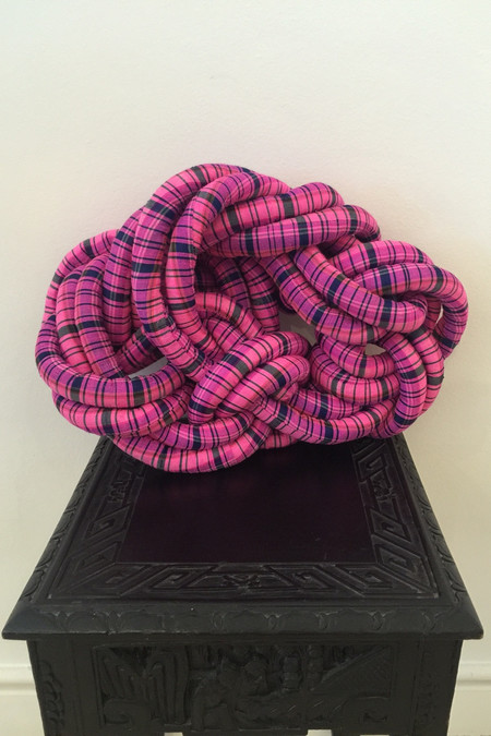 Electric Feathers Silk Rope Pillow - Pink