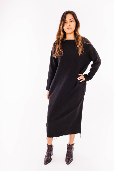 Black Crane Quilted Long Dress (Black)