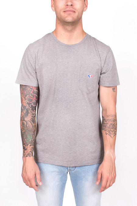 Men's Maison Kitsune Tricolor Fox Patch Tee