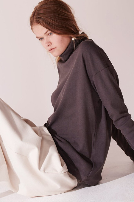 Kowtow Building Block Rib Roll Neck Top in Charcoal