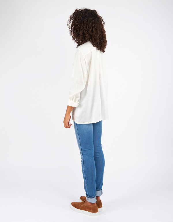Filippa K Tencel Pull On Blouse Off White