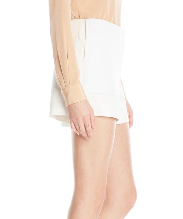Vincetta White Leather Pocket Short