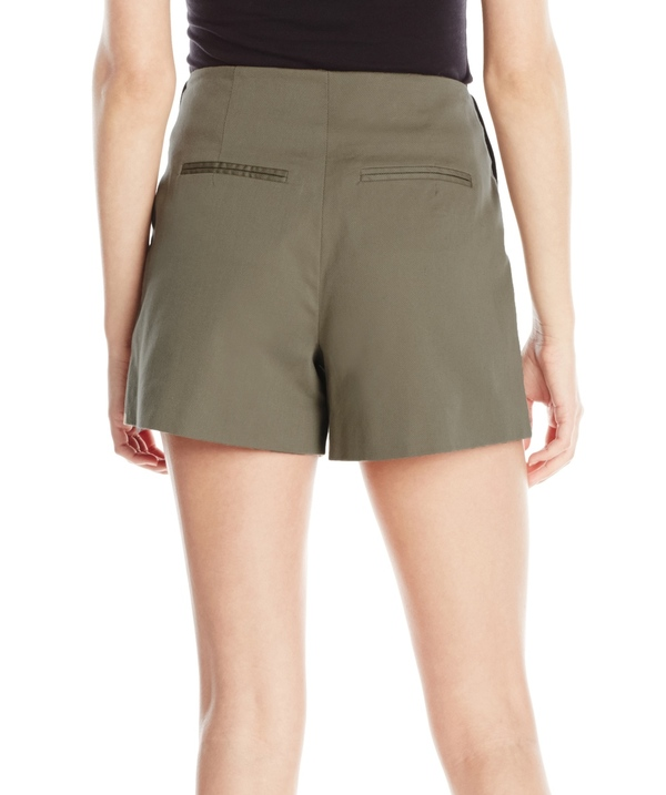 Vincetta Olive Leather Pocket Short