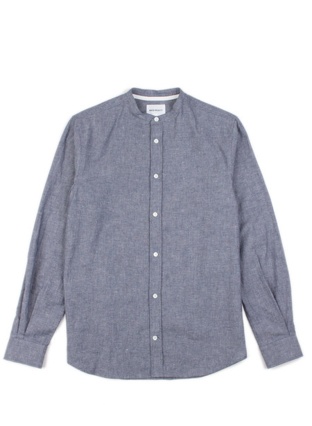 Men's Norse Projects Benno Grandad Slub LS Indigo