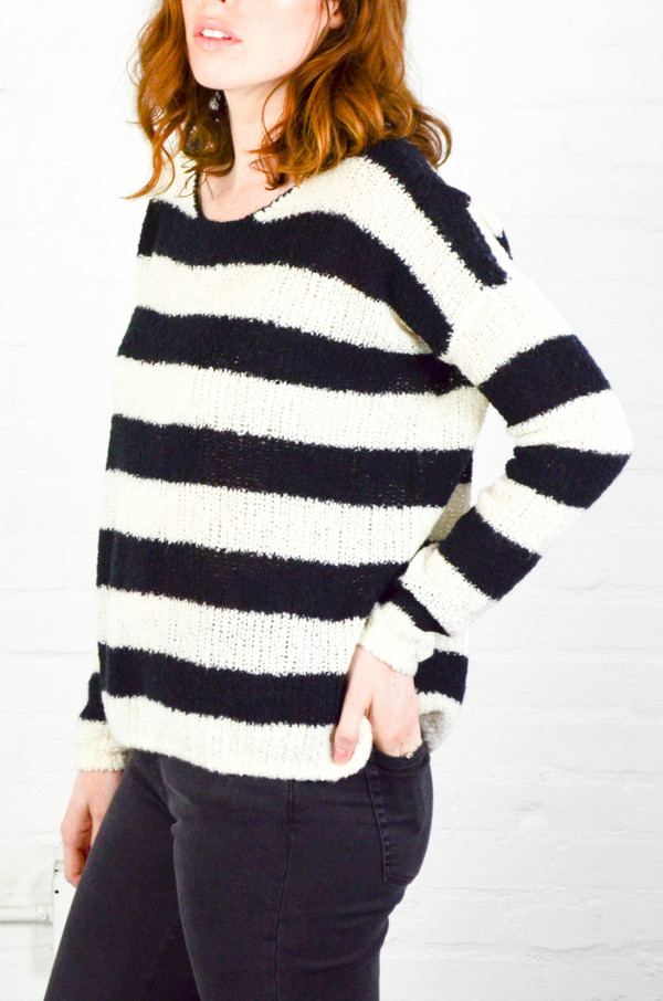 ATM Anthony Thomas Melillo ATM Chalk and Black Stripe Boatneck Drop Shoulder Sweater