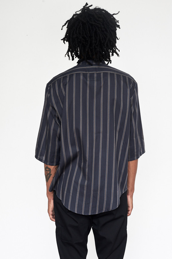 Unisex Assembly New York Tencel Stripe Nehru Shirt