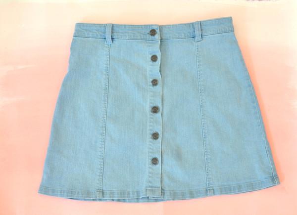 """Courtshop """"Eileen"""" A-Line Button Front Mini Denim skirt"""