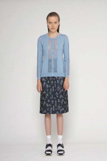 """Diarte """"Lina"""" Printed Silk Cotton Straight Skirt"""
