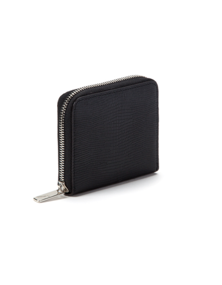 J'APOSTROPHE BLACK TEXTURED SMALL WALLET WITH SILVER ZIPPER