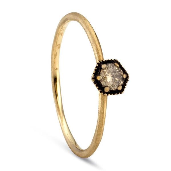 Satomi Kawakita Hexagon Champagne Diamond Ring