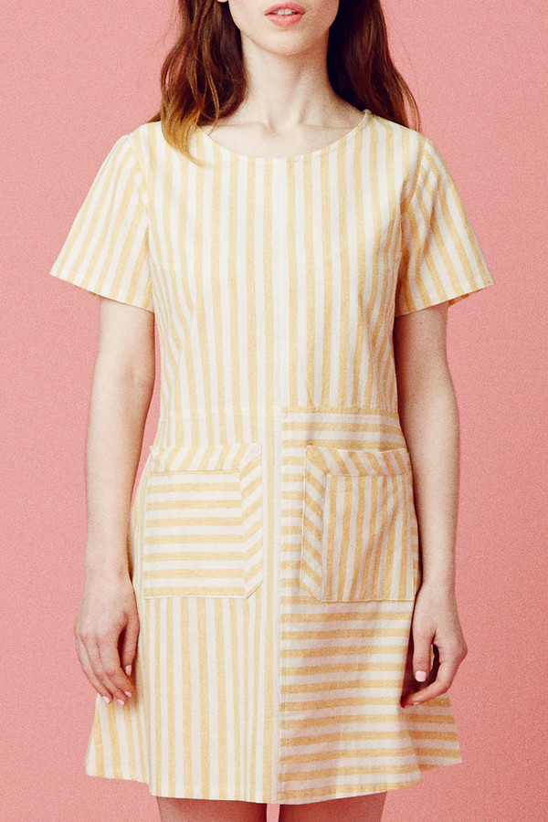 Samantha Pleet Perspective Dress - Yellow Stripe