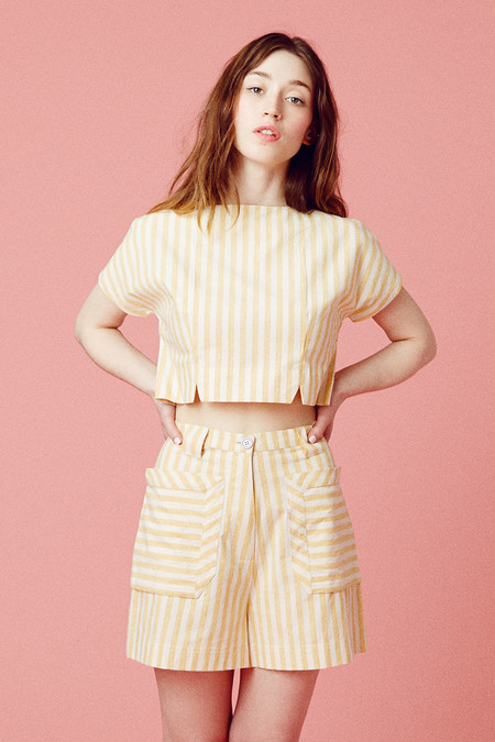 SSamantha Pleet pirit Blouse  - Yellow Stripe