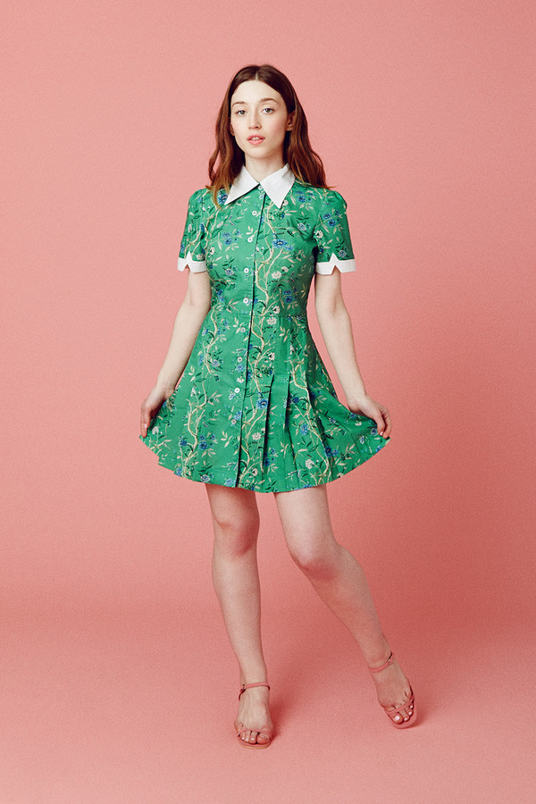 Samantha Pleet Wallflower Dress - Green Wallpaper
