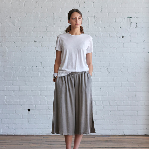 Black Crane Slit Wide Culotte