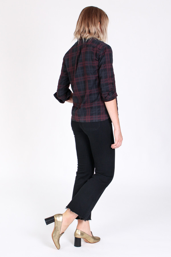 Steven Alan Band collar shirt in black/burgundy