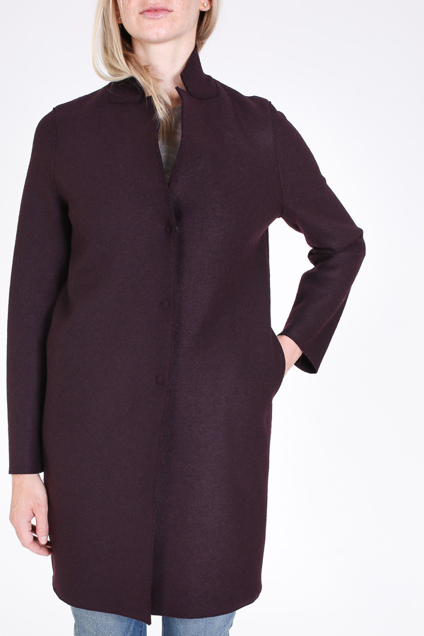 Harris Wharf London Cocoon coat in burgundi