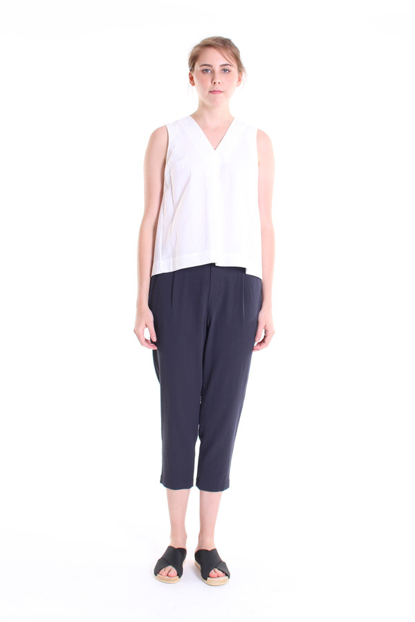 Evam Eva Double cloth tuck pants in north sea