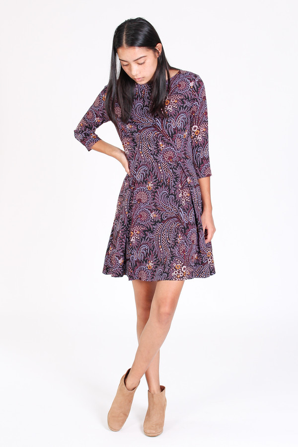 Suno Fit and flare dress in paisley wine